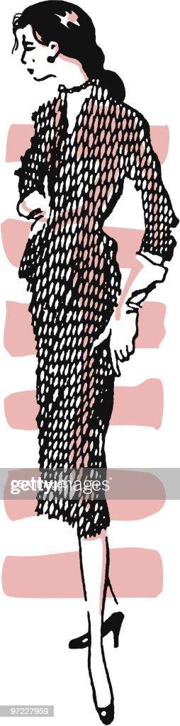 Woman Posing in Dress : Stock Illustration