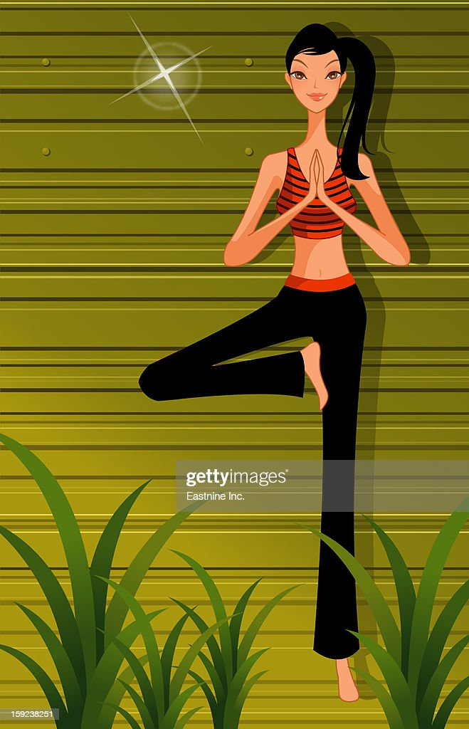 Woman practicing yoga, standing on one leg : Stock Illustration