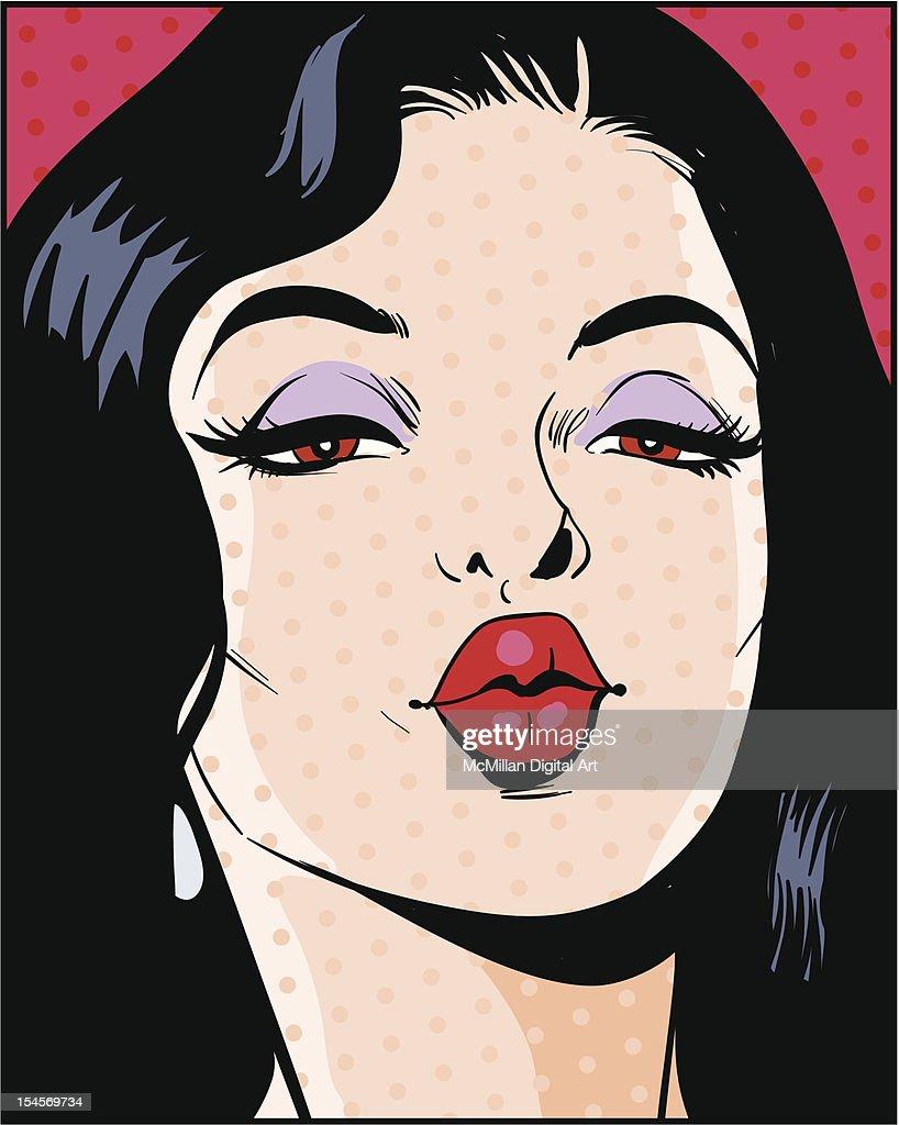 Woman puckering lips : Vector Art
