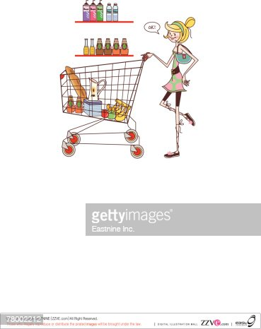 Woman pushing a shopping cart : Vector Art