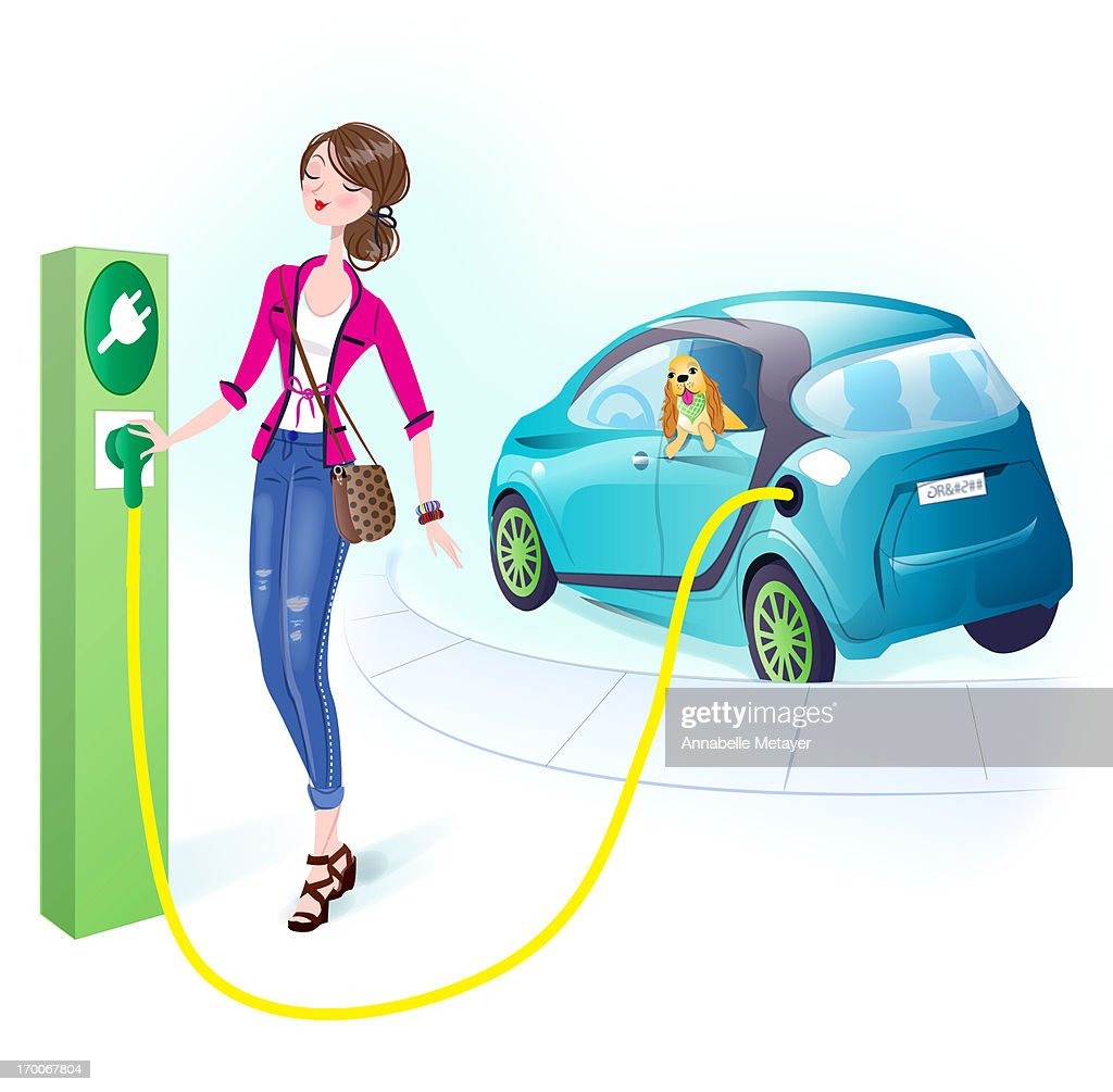 A woman recharging her vehicle : Stock Illustration