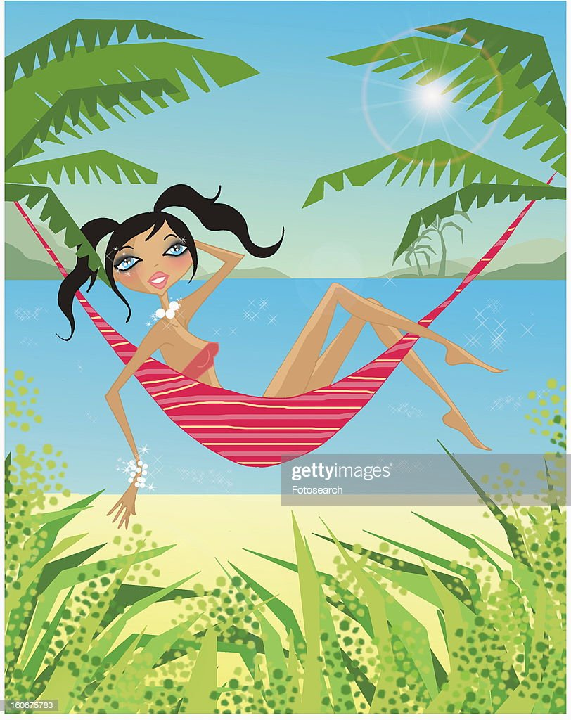 Woman relaxing on a hammock by the beach : Stock Illustration