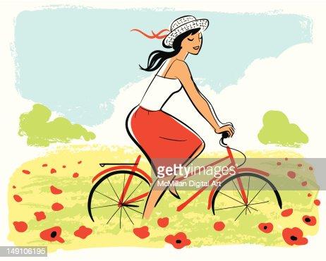 Woman riding bike : Vector Art