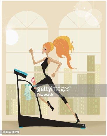 Woman running on the treadmill : Stock Illustration
