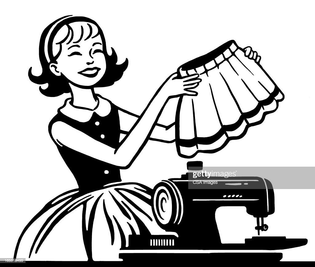 Woman Sewing a Skirt : Stock Illustration