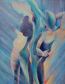 Original oil painting of a female figure and shadow forms by Jenny Speckels.