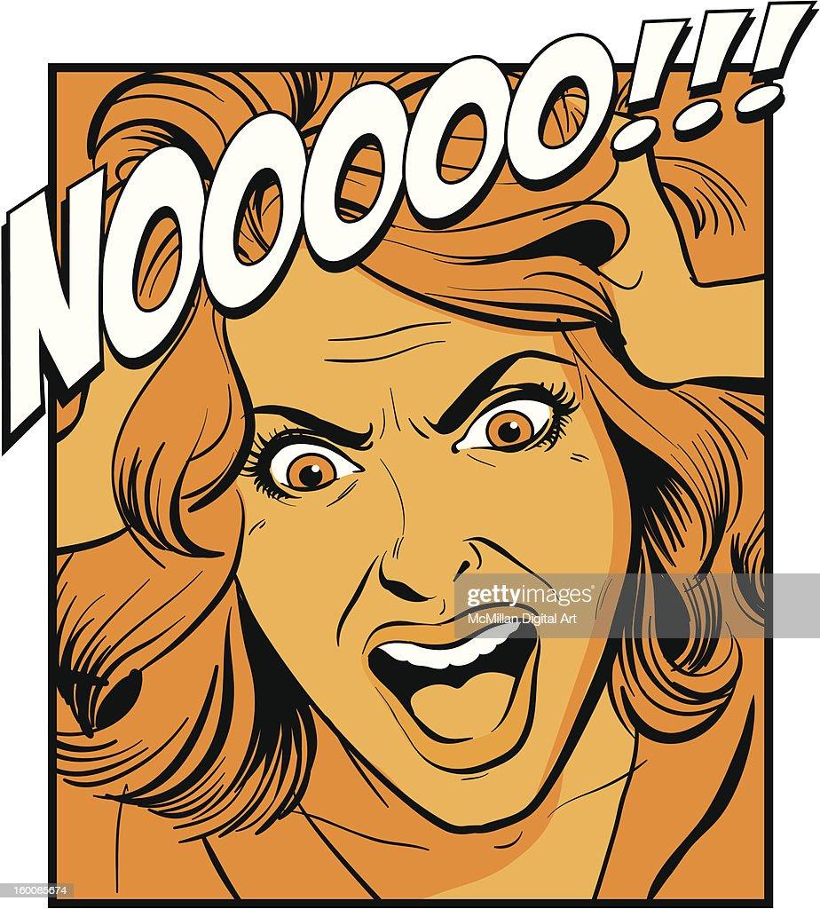Woman shouting, pulling hair : Vector Art