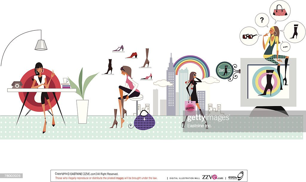 Woman sitting at a table with another woman trying on shoe and another woman carrying shopping bag : Vector Art