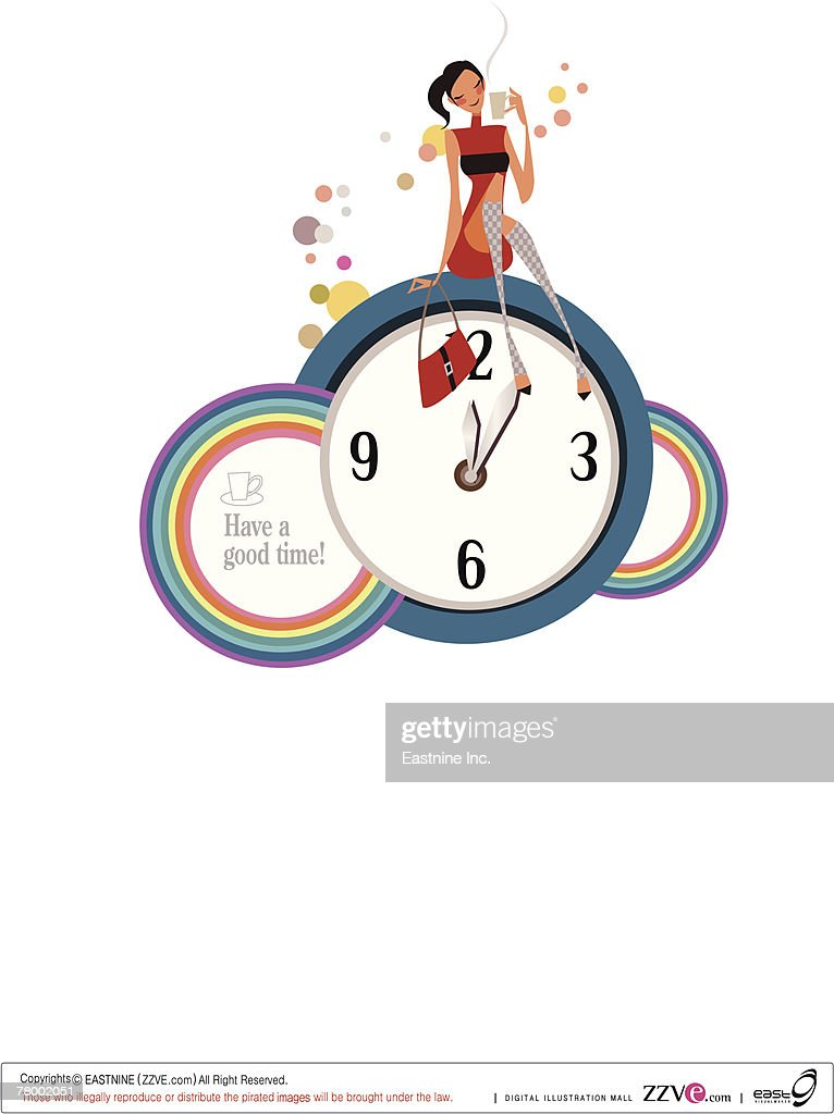 Woman sitting on a clock and holding a tea cup : Vector Art