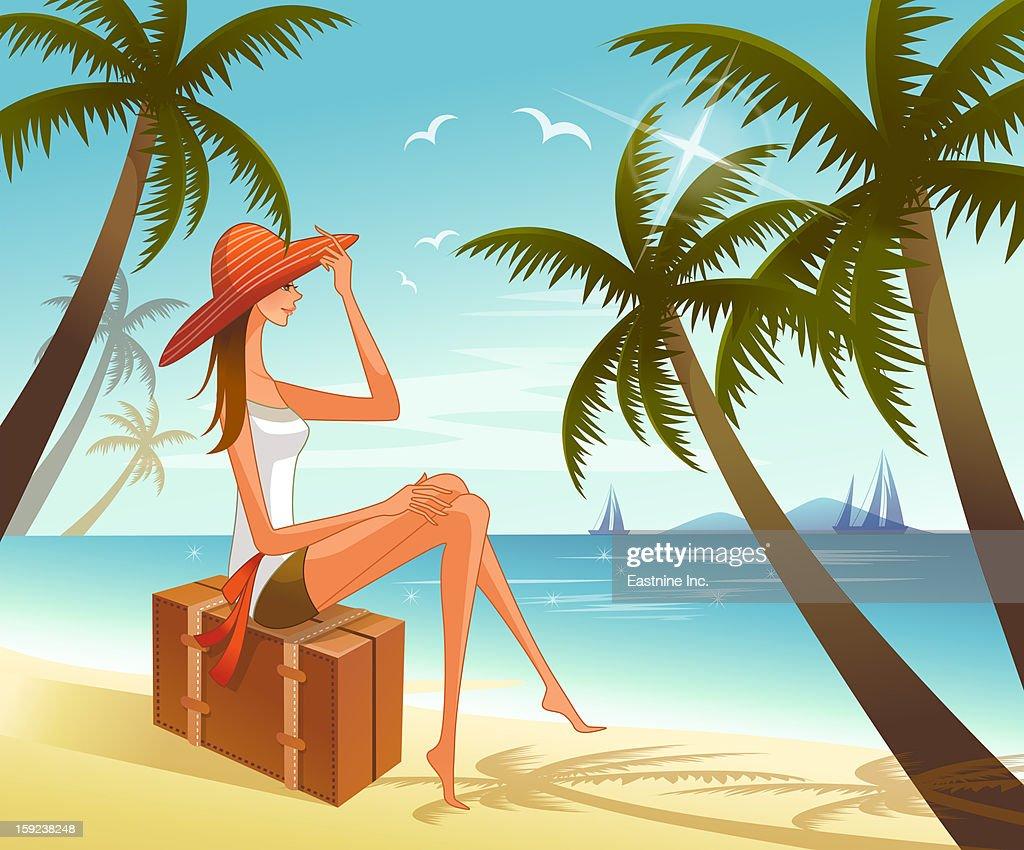 Woman sitting on suitcase overlooking sea : Stock Illustration