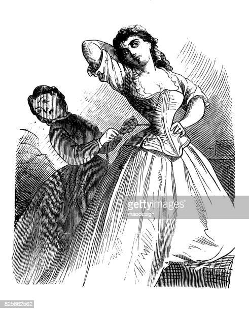 Woman squeezes a corset of a young woman -1867