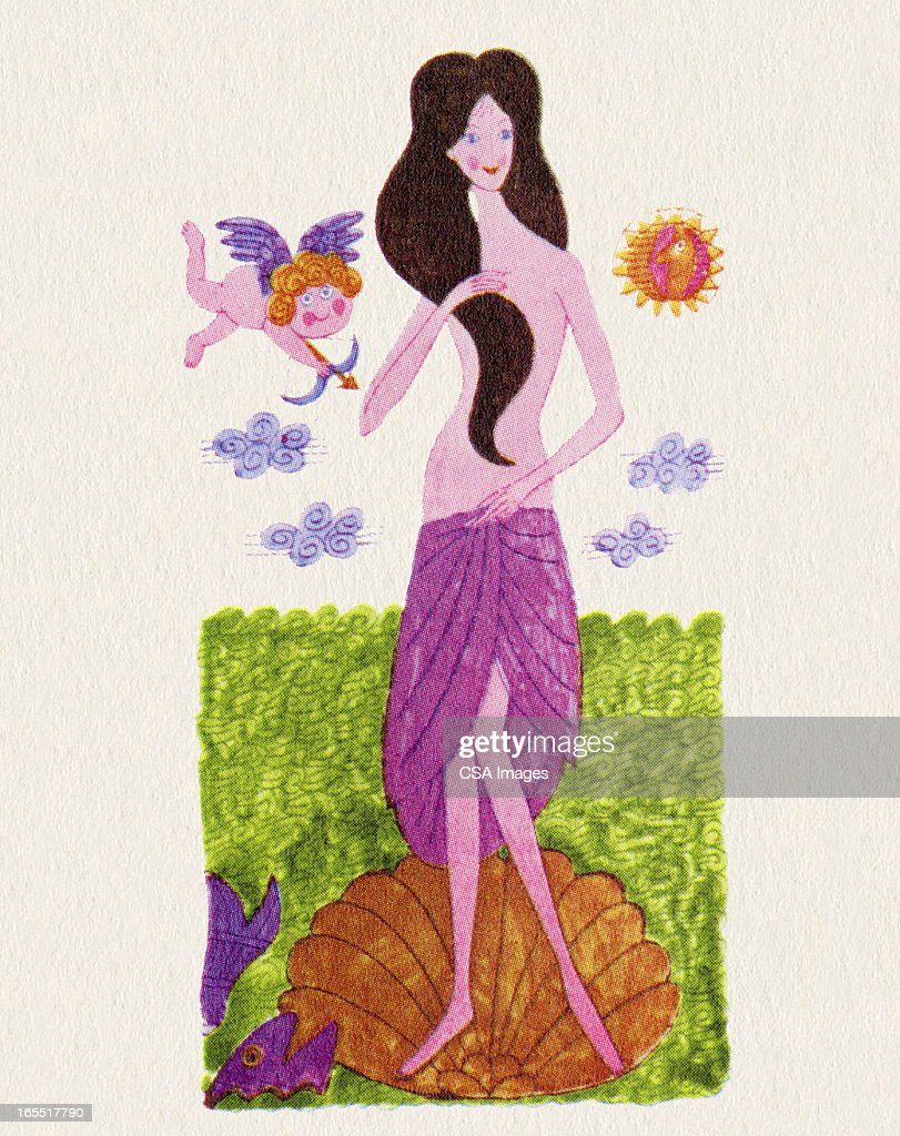 Woman Standing in a Seashell : Stock Illustration