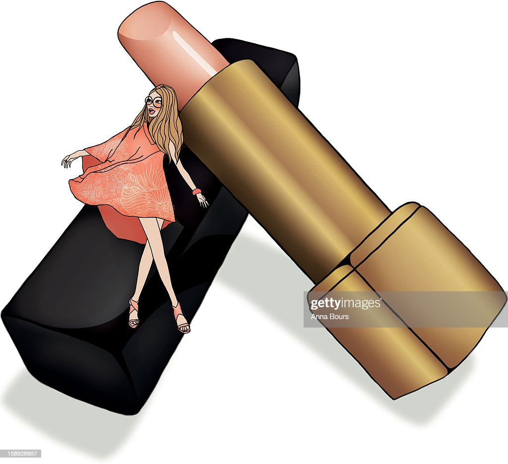 A woman standing next to a giant tube of lipstick : Stock Illustration