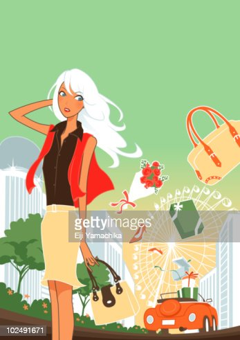 Woman standing on street in london : Stock Illustration