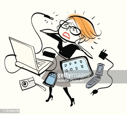 Woman surrounded by technology and gadgets : Vector Art