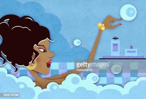 Woman taking a bubble bath : Stock Illustration