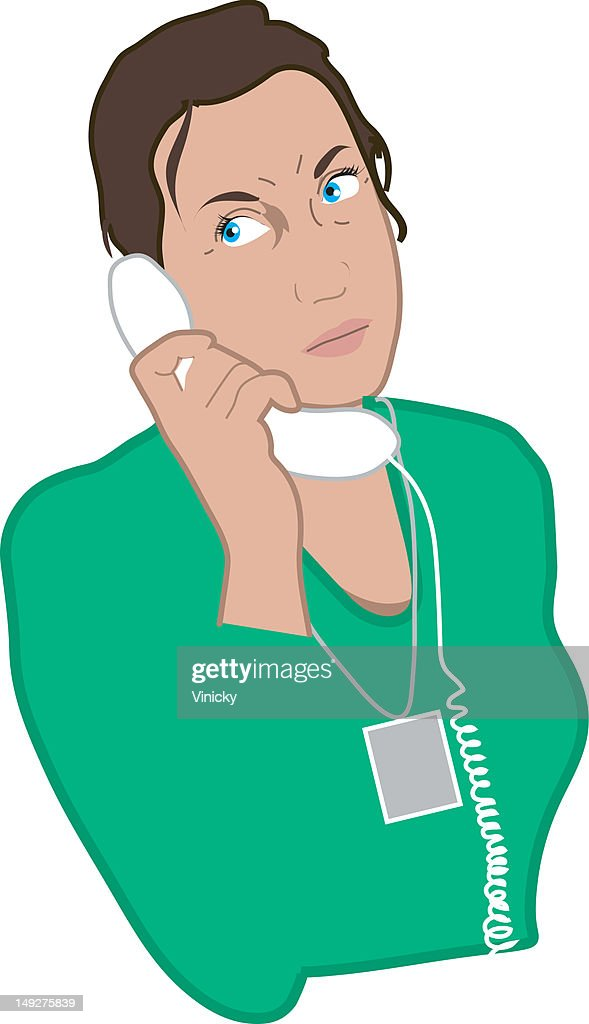 A woman talking on a phone : Stock Illustration