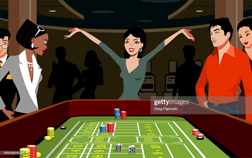Woman throwing dice at craps table, arms raised : Stock Illustration