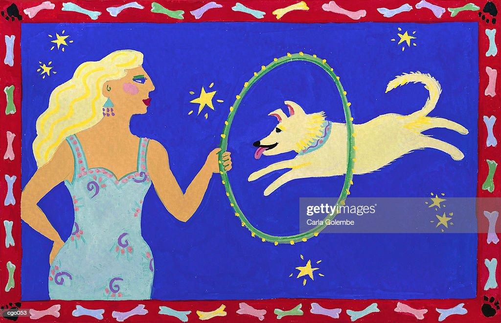 Woman Training a Dog : Stock Illustration