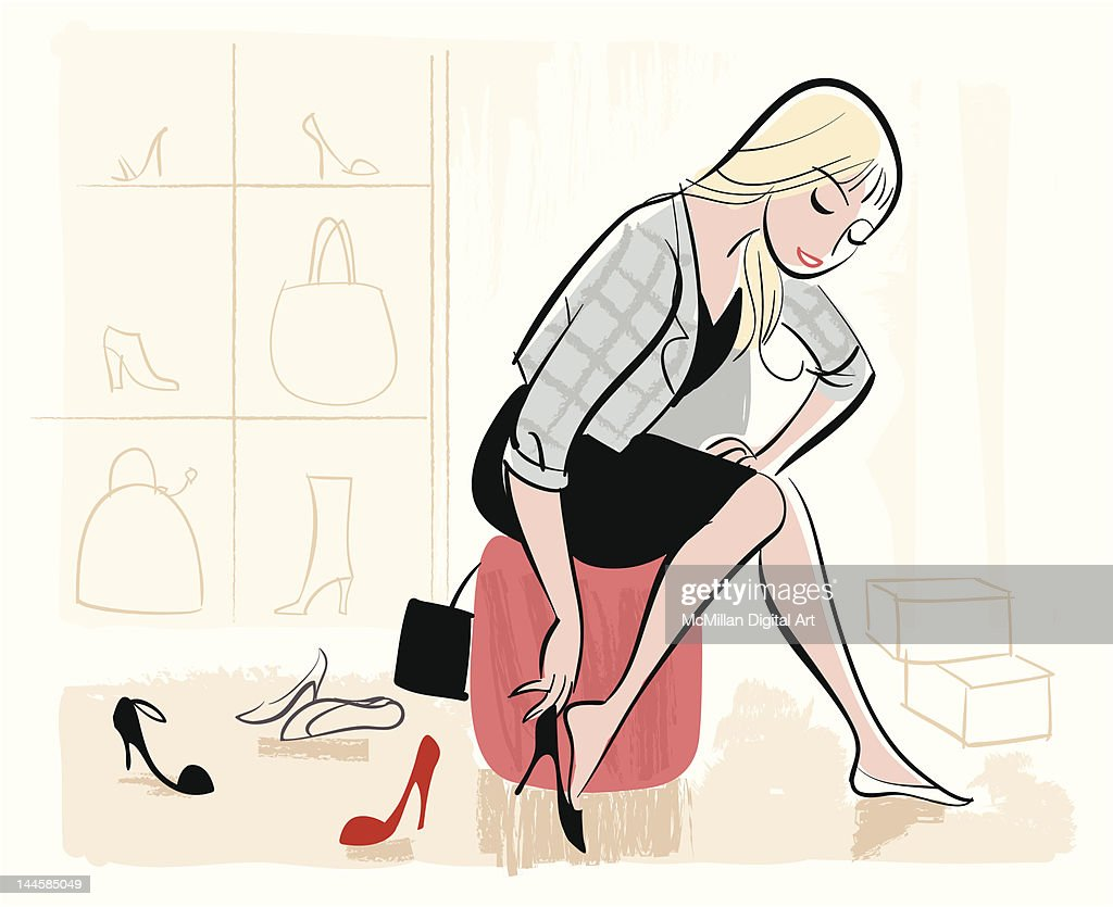 Woman trying on shoes : Vector Art