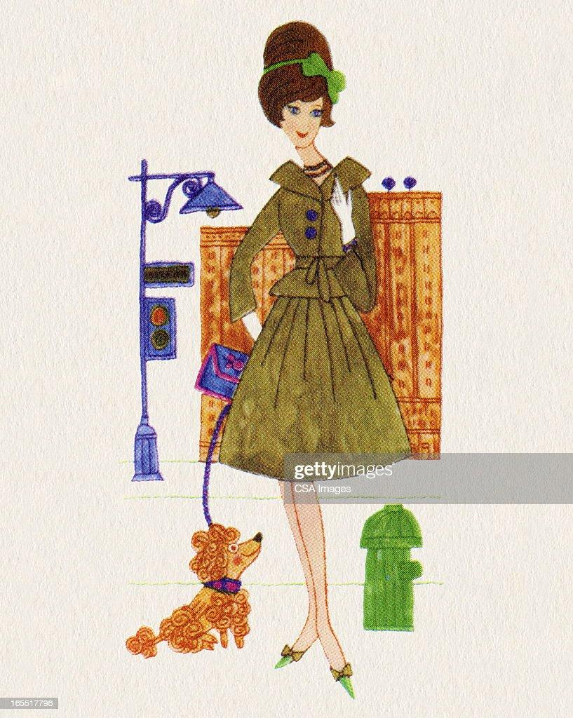 Woman Walking a Dog : Stock Illustration