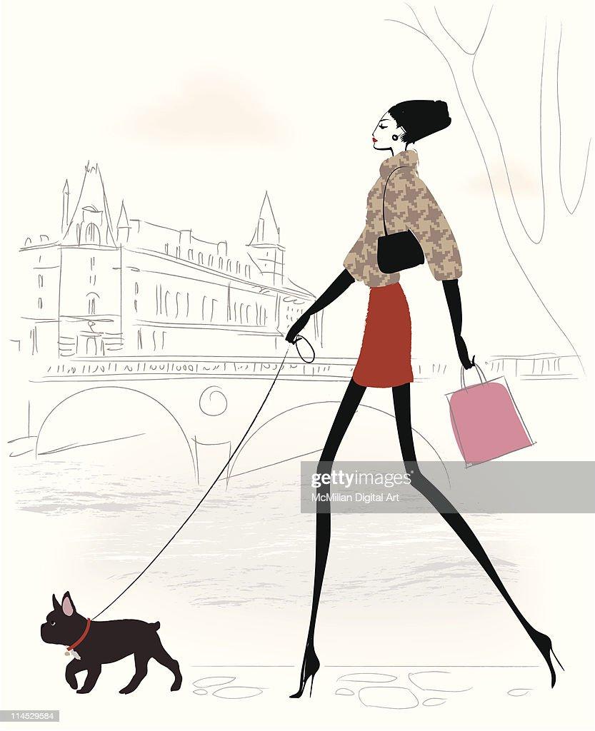 Woman walking dog, carrying shopping bags : Vector Art