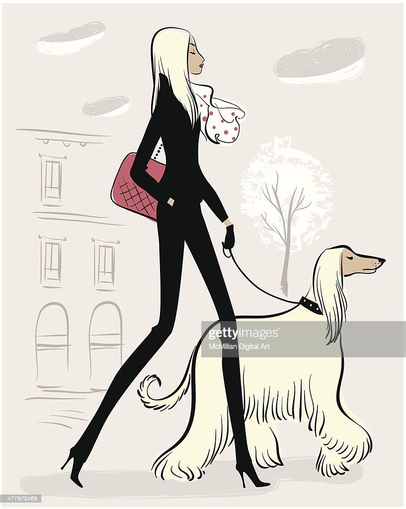 Woman walking dog : Vector Art