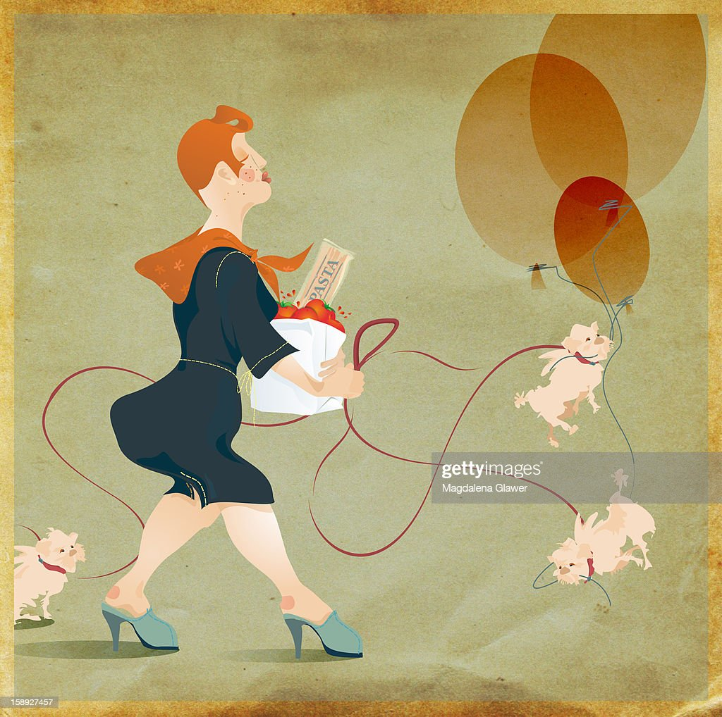 A woman walking dogs, holding groceries, and a bunch of balloons : Stock Illustration
