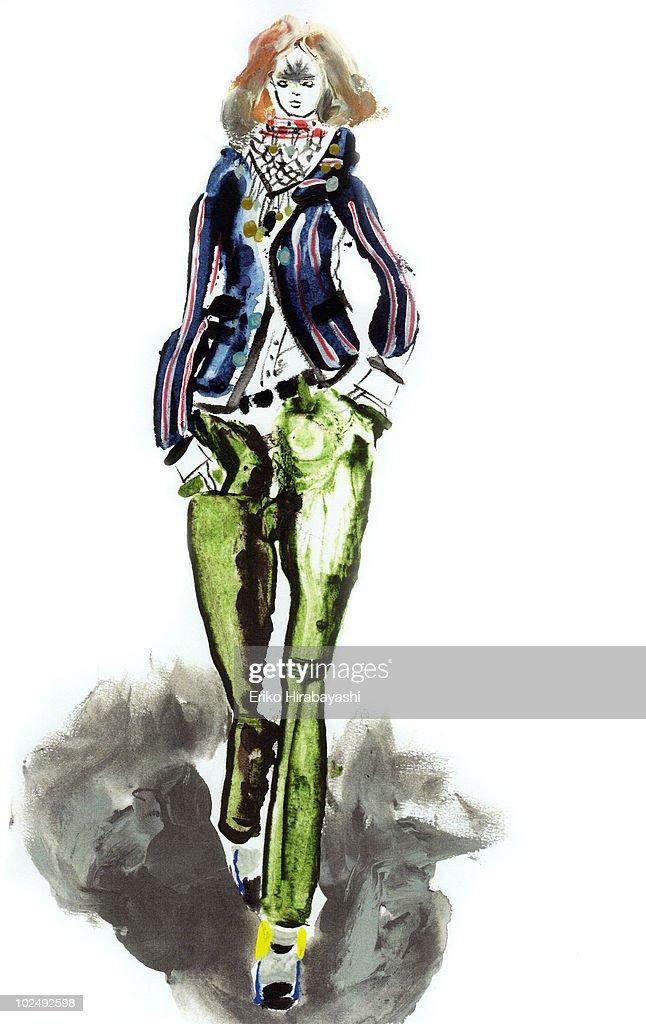 Woman walking fashion runway : Stock Illustration