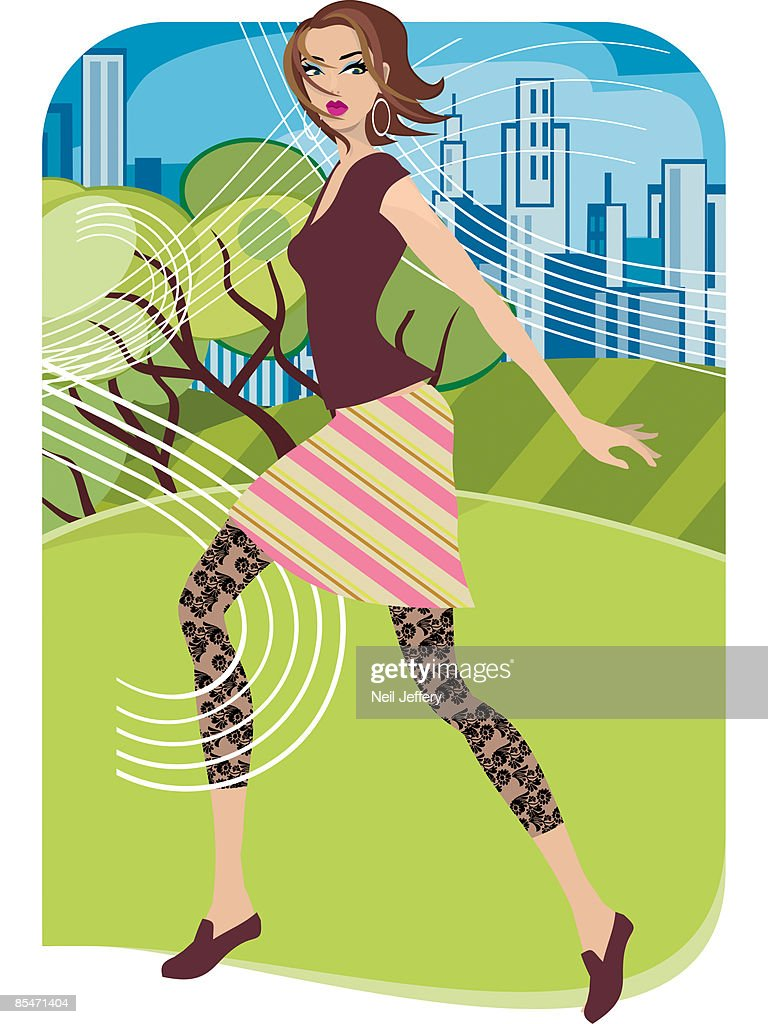 A woman walking in a windy park with the city in the background : Stock Illustration