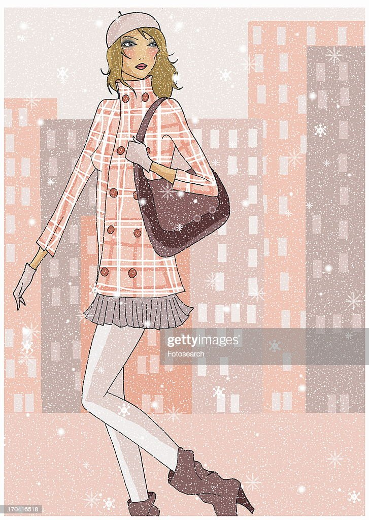 Woman walking in the snow in the city : Stock Illustration