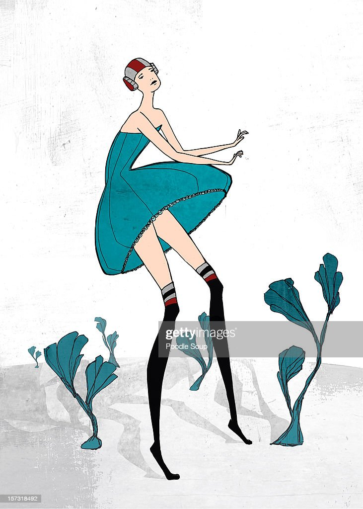 woman walking in the wind : Stock Illustration