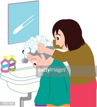 washing hair of senior side view clipart vectoriel thinkstock