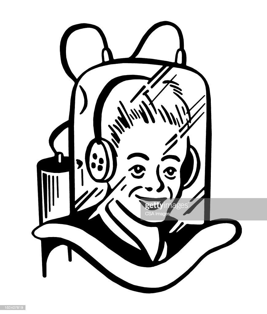Woman Wearing Space Helmet : Stock Illustration
