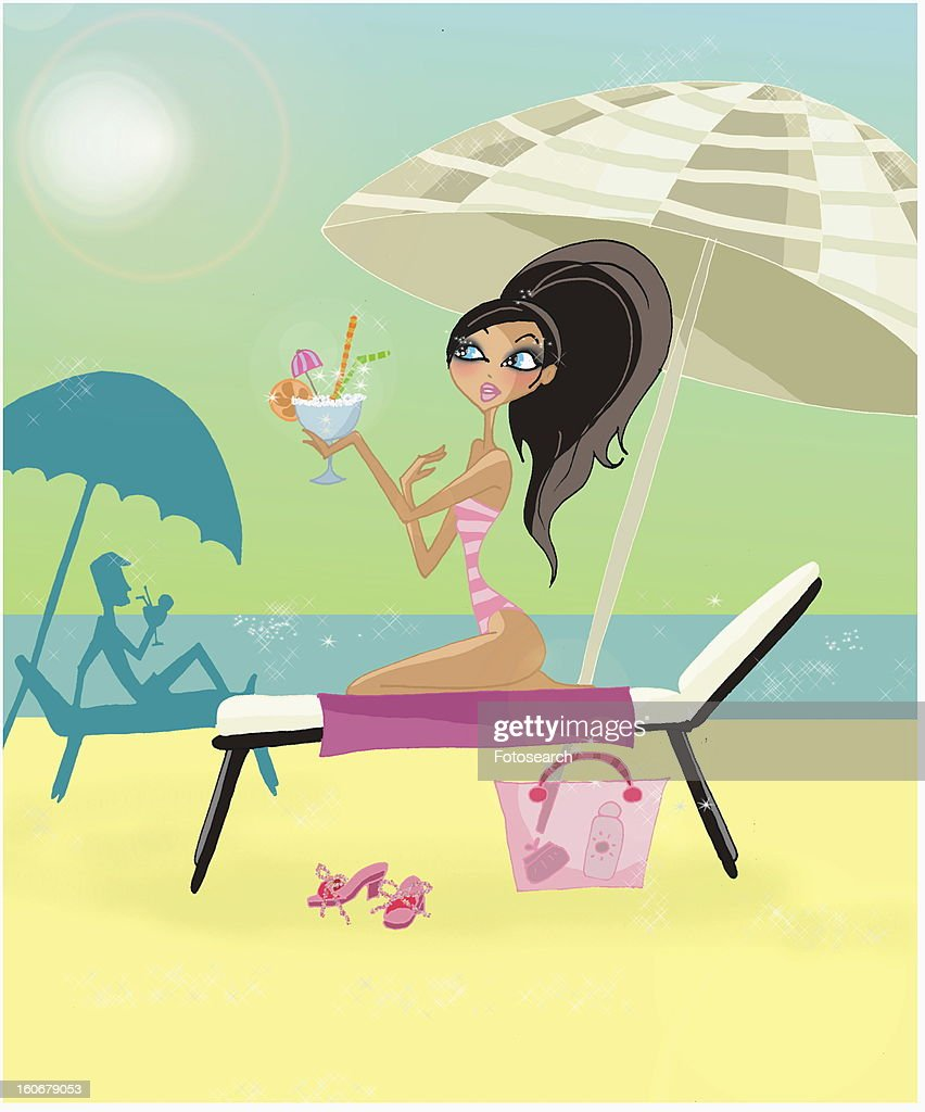 Woman with a cocktail on her chaise lounge on beach : Stock Illustration