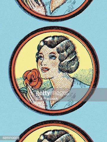 Mujer con rosas rojas : Ilustración de stock