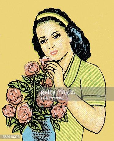 Mujer con ramo de rosas : Ilustración de stock