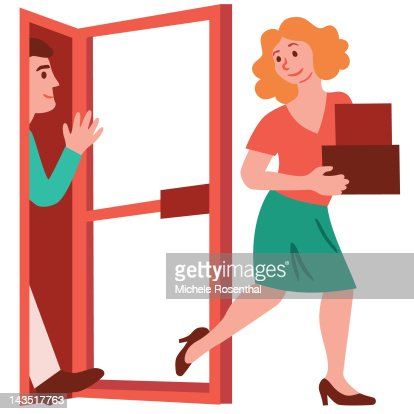 Woman with boxes holding door open with her foot : Stock Illustration