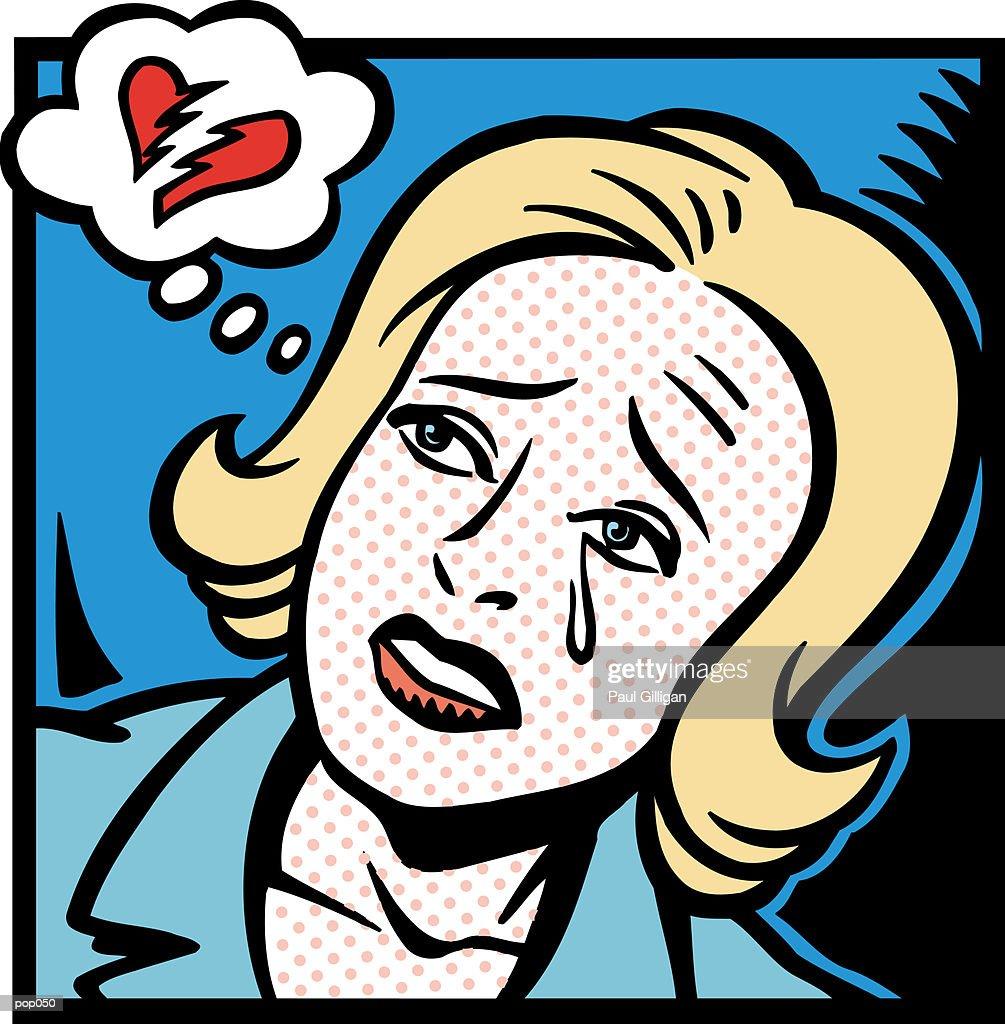 Woman with Broken Heart : Stock Illustration