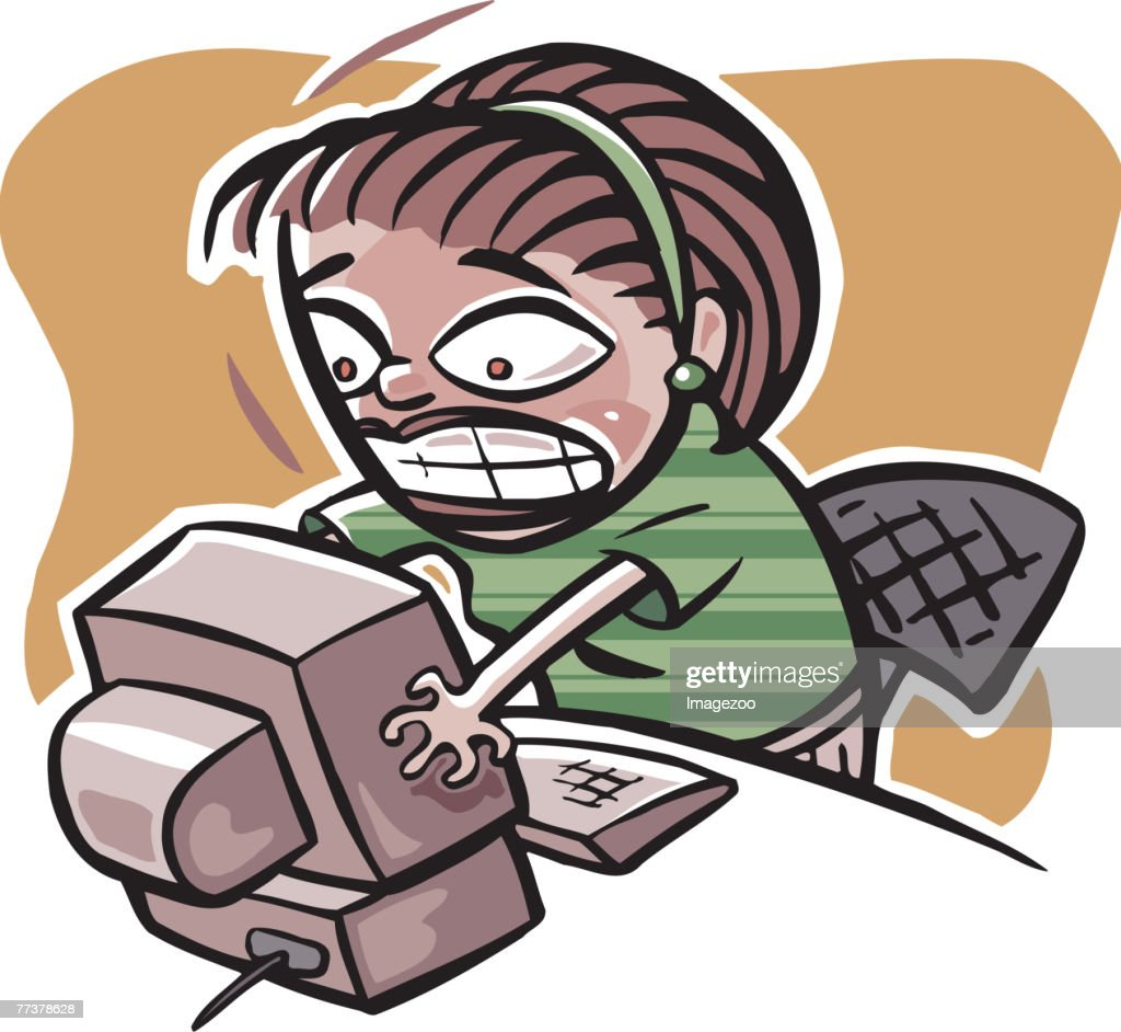 Woman with computer problems : Vector Art
