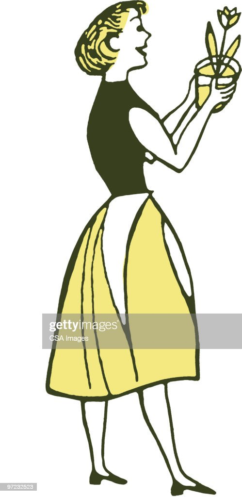 Woman with Flower : Stock Illustration