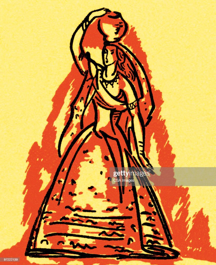 Woman with fruit : Stock Illustration
