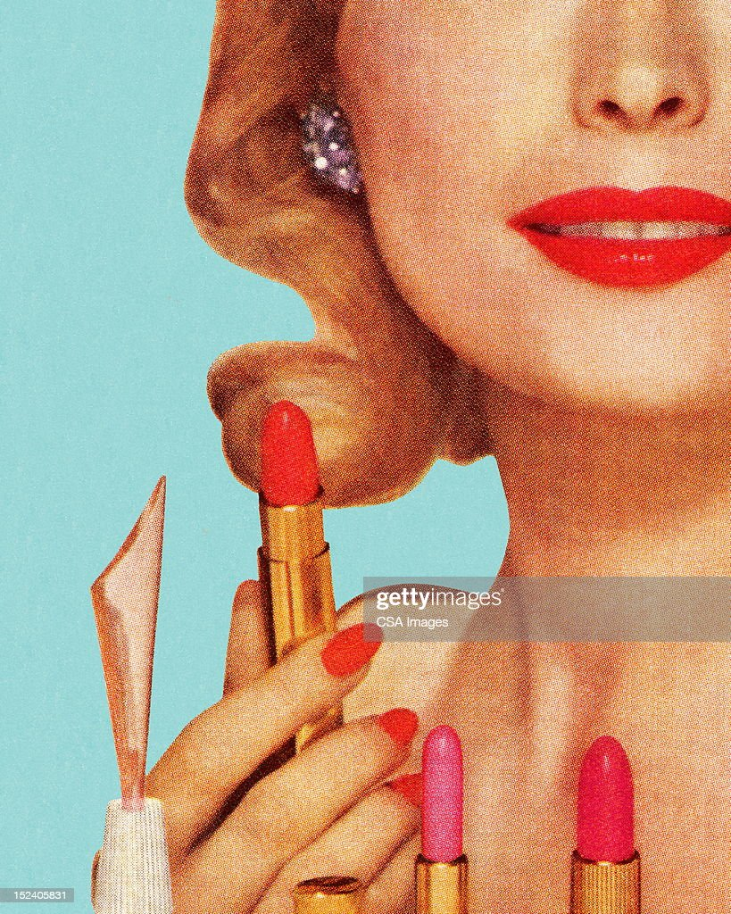 Woman With Lipsticks : Stock Illustration