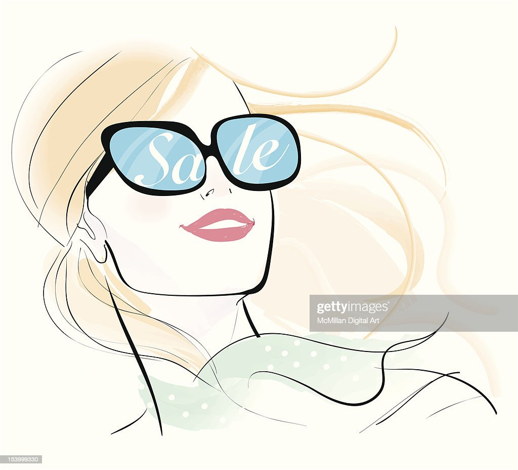Woman with 'sale' reflected in sunglasses : Vector Art