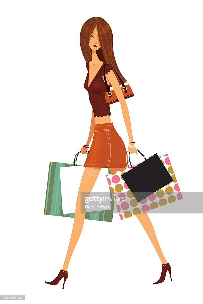 Woman with shopping bags : Stock Illustration