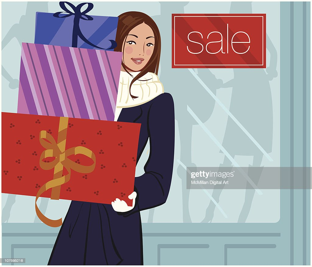 Woman with stack of gifts beside 'sale' sign : Vector Art