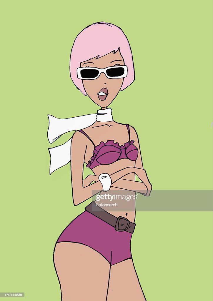 Woman with sunglasses in hot pants and bra top : Stock Illustration