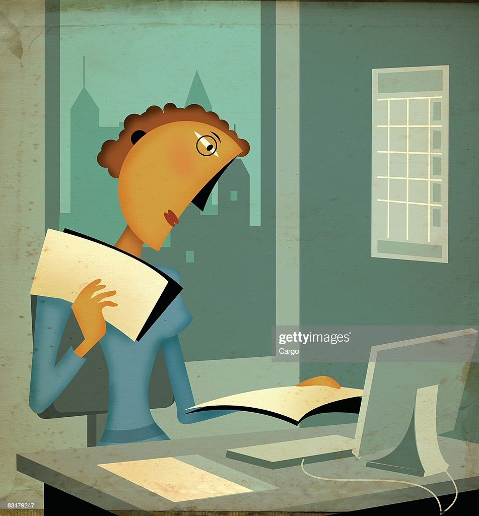 A woman working at her office desk,   in front of computer : Stock Illustration