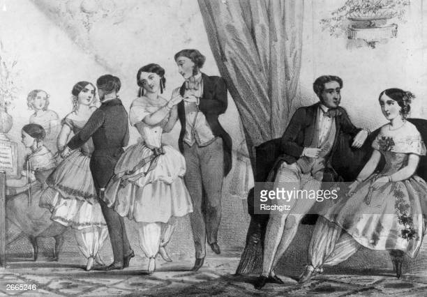 Women in Bloomers loose trousers gathered at the knee or ankle a fashion started by American magazine editor Amelia Bloomer It did not catch on but...