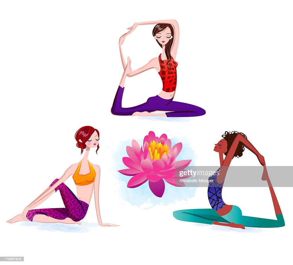 Women in various yoga positions : Stock Illustration